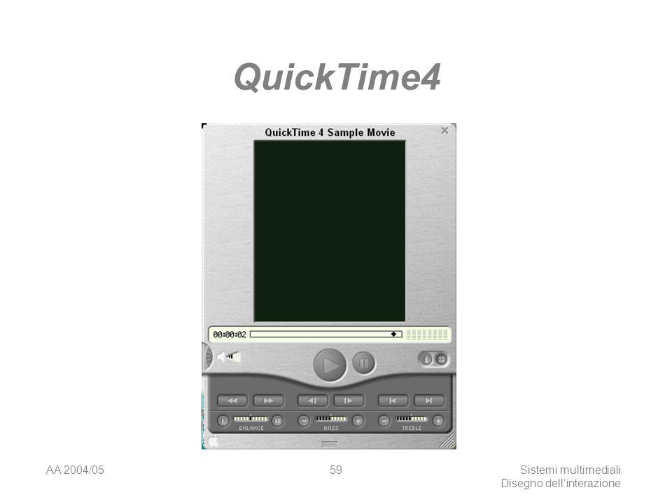 AA 2004/05Sistemi multimediali Disegno dellinterazione 58 Metafore iper-realistiche Interfacce realizzate per assomigliare realisticamente ad oggetti fisici.