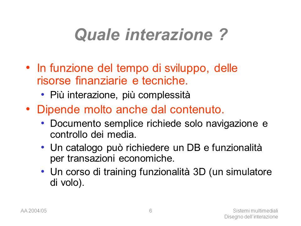 AA 2004/05Sistemi multimediali Disegno dellinterazione 16