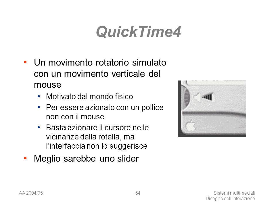 AA 2004/05Sistemi multimediali Disegno dellinterazione 63 QuickTime4 Mancanza dindizi sulla disponibilità dei controlli Il controllo del volume è disponibile a sinistra in 1., ma non lo è a destra in 2., dato che non è stato caricato alcun file Anche se è reso attivo mentre il video è in esecuzione, vedi 3.