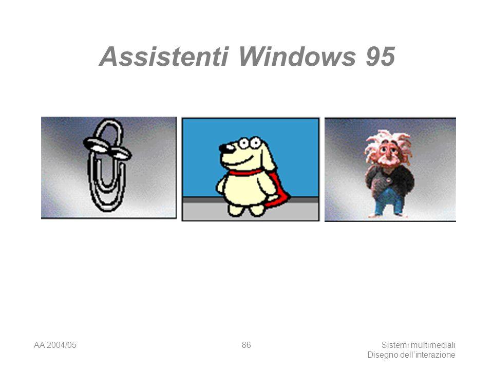 AA 2004/05Sistemi multimediali Disegno dellinterazione 85