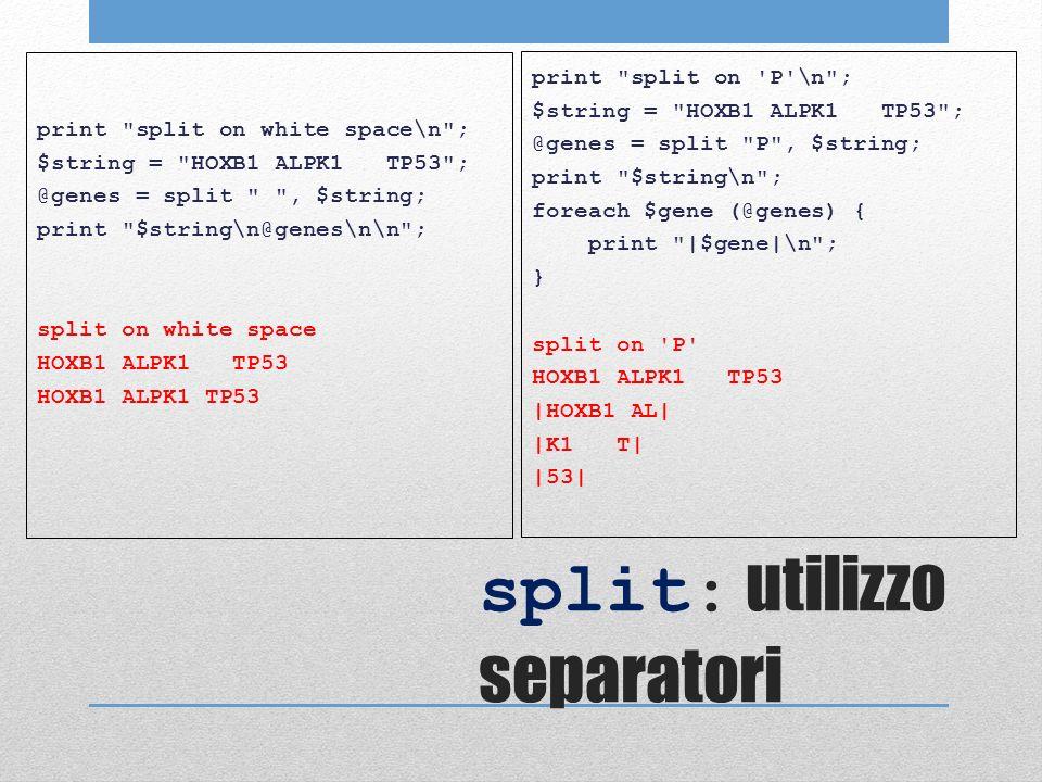 split: utilizzo separatori print split on white space\n ; $string = HOXB1 ALPK1 TP53 ; @genes = split , $string; print $string\n@genes\n\n ; split on white space HOXB1 ALPK1 TP53 print split on P \n ; $string = HOXB1 ALPK1 TP53 ; @genes = split P , $string; print $string\n ; foreach $gene (@genes) { print |$gene|\n ; } split on P HOXB1 ALPK1 TP53 |HOXB1 AL| |K1 T| |53|