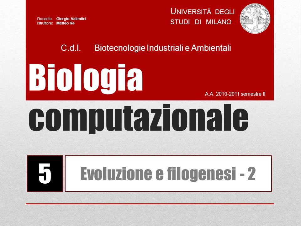 Biologia computazionale A.A. 2010-2011 semestre II U NIVERSITÀ DEGLI STUDI DI MILANO Docente: Giorgio Valentini Istruttore: Matteo Re 5 Evoluzione e f