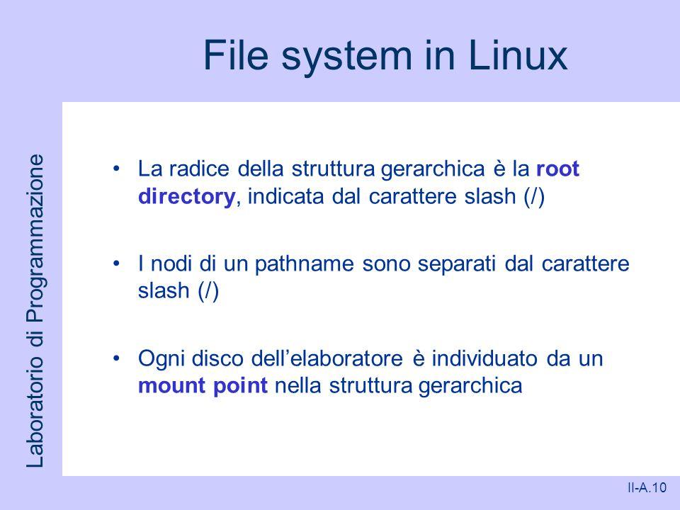 Laboratorio di Programmazione II-A.10 File system in Linux La radice della struttura gerarchica è la root directory, indicata dal carattere slash (/)