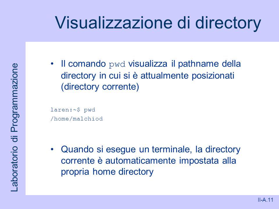 Laboratorio di Programmazione II-A.11 Visualizzazione di directory Il comando pwd visualizza il pathname della directory in cui si è attualmente posiz