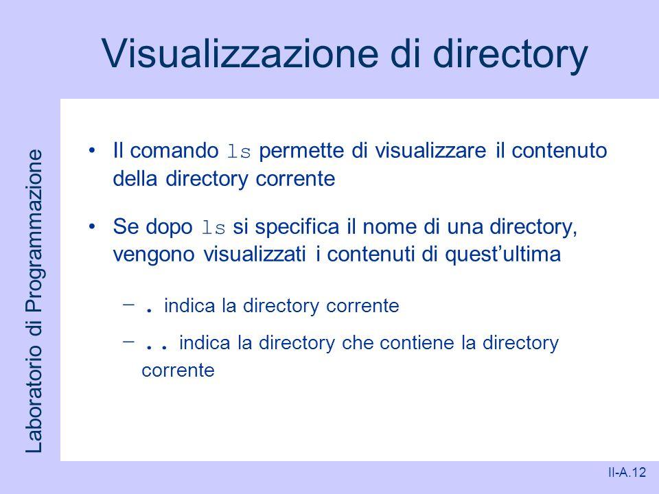 Laboratorio di Programmazione II-A.12 Visualizzazione di directory Il comando ls permette di visualizzare il contenuto della directory corrente Se dop