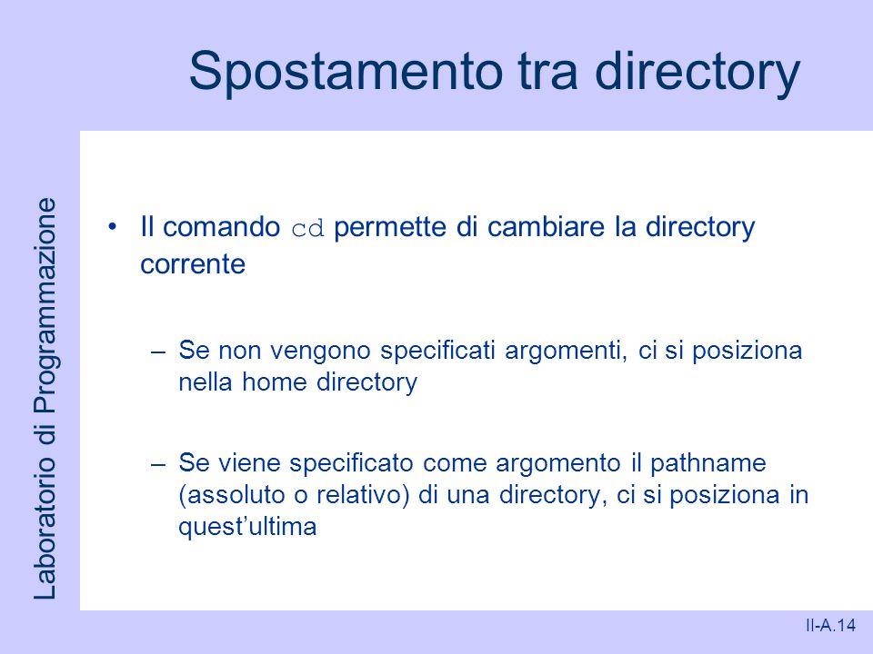 Laboratorio di Programmazione II-A.14 Spostamento tra directory Il comando cd permette di cambiare la directory corrente –Se non vengono specificati a