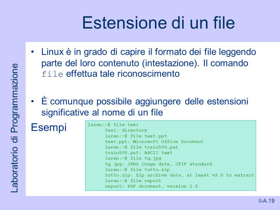Laboratorio di Programmazione II-A.19 Estensione di un file Linux è in grado di capire il formato dei file leggendo parte del loro contenuto (intestaz