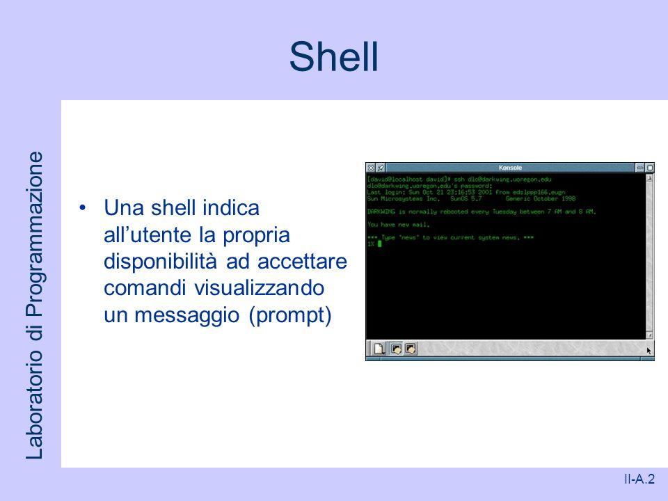 Laboratorio di Programmazione II-A.2 Shell Una shell indica allutente la propria disponibilità ad accettare comandi visualizzando un messaggio (prompt