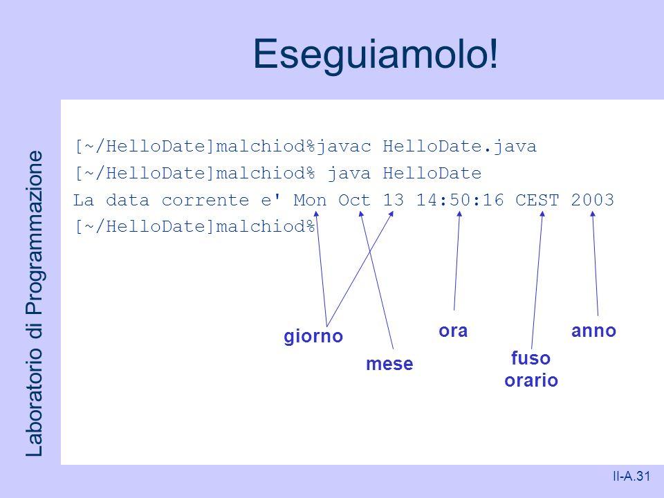 Laboratorio di Programmazione II-A.31 Eseguiamolo! [~/HelloDate]malchiod%javac HelloDate.java [~/HelloDate]malchiod% java HelloDate La data corrente e
