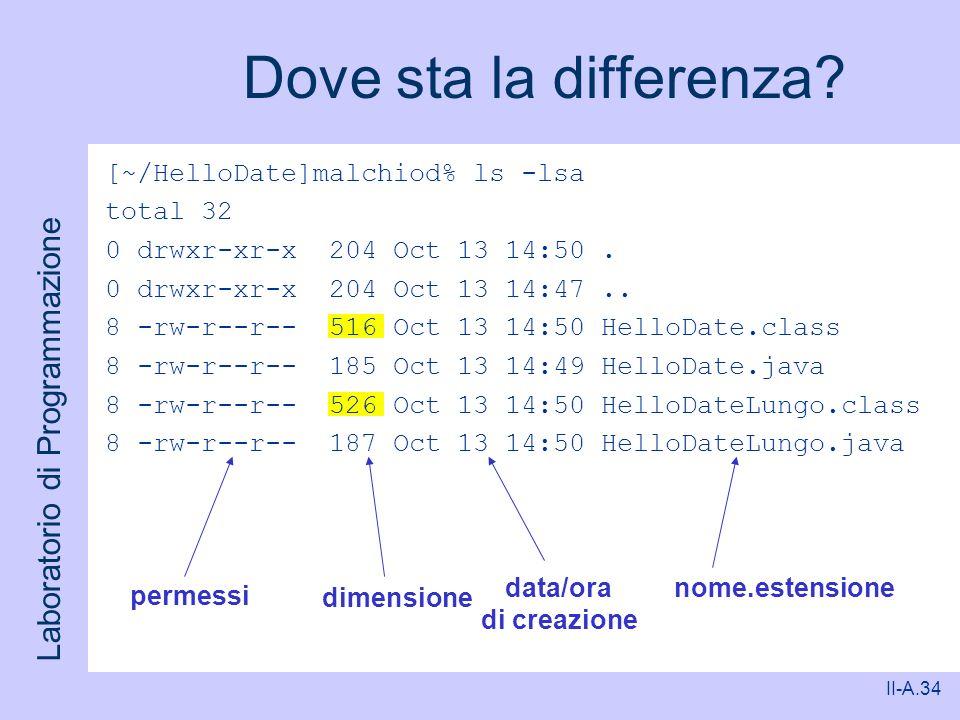 Laboratorio di Programmazione II-A.34 Dove sta la differenza? [~/HelloDate]malchiod% ls -lsa total 32 0 drwxr-xr-x 204 Oct 13 14:50. 0 drwxr-xr-x 204