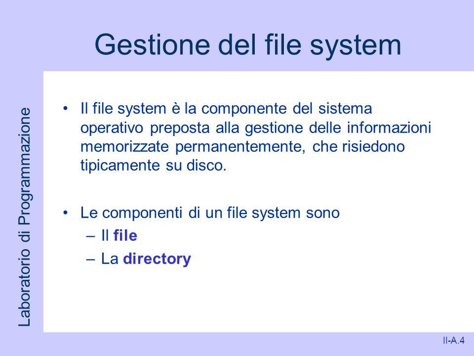 Laboratorio di Programmazione II-A.4 Gestione del file system Il file system è la componente del sistema operativo preposta alla gestione delle inform