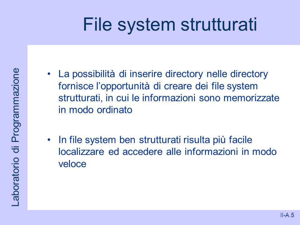 Laboratorio di Programmazione II-A.5 File system strutturati La possibilità di inserire directory nelle directory fornisce lopportunità di creare dei