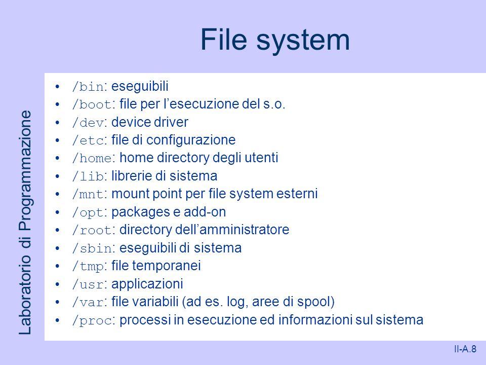 Laboratorio di Programmazione II-A.8 File system /bin : eseguibili /boot : file per lesecuzione del s.o. /dev : device driver /etc : file di configura
