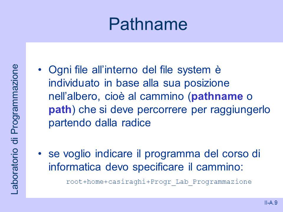 Laboratorio di Programmazione II-A.9 Pathname Ogni file allinterno del file system è individuato in base alla sua posizione nellalbero, cioè al cammin