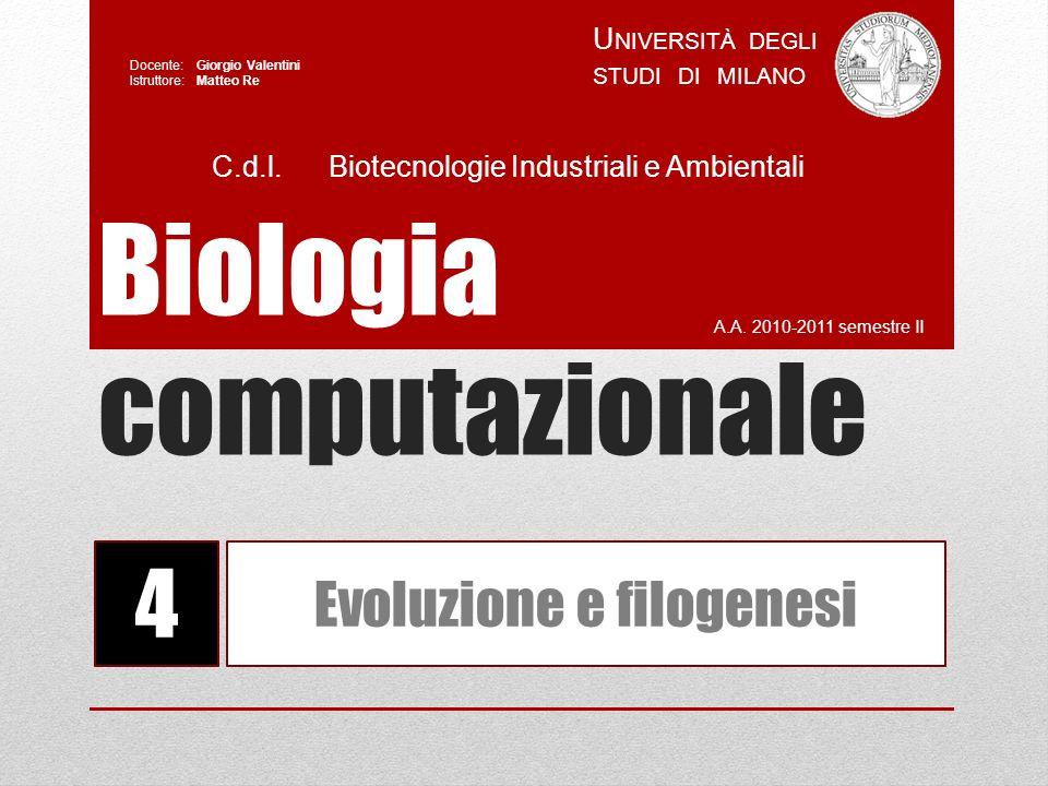 Costruzione di alberi filogenetici BioCS Ruolo dei metodi filogenetici : «caratteri» (molecolari) DISTANZE ALBERO FILOGENETICO