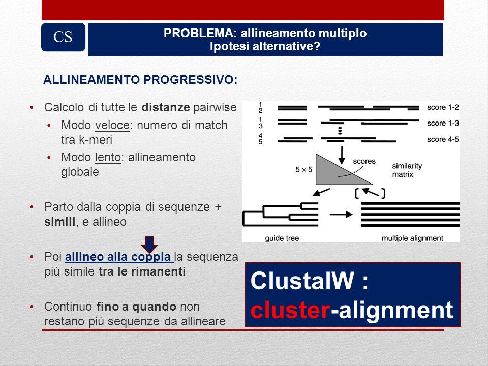PROBLEMA: allineamento multiplo Ipotesi alternative? CS Calcolo di tutte le distanze pairwise Modo veloce: numero di match tra k-meri Modo lento: alli
