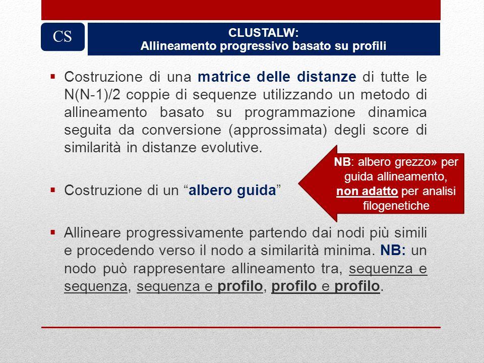 CLUSTALW: Allineamento progressivo basato su profili CS Costruzione di una matrice delle distanze di tutte le N(N-1)/2 coppie di sequenze utilizzando