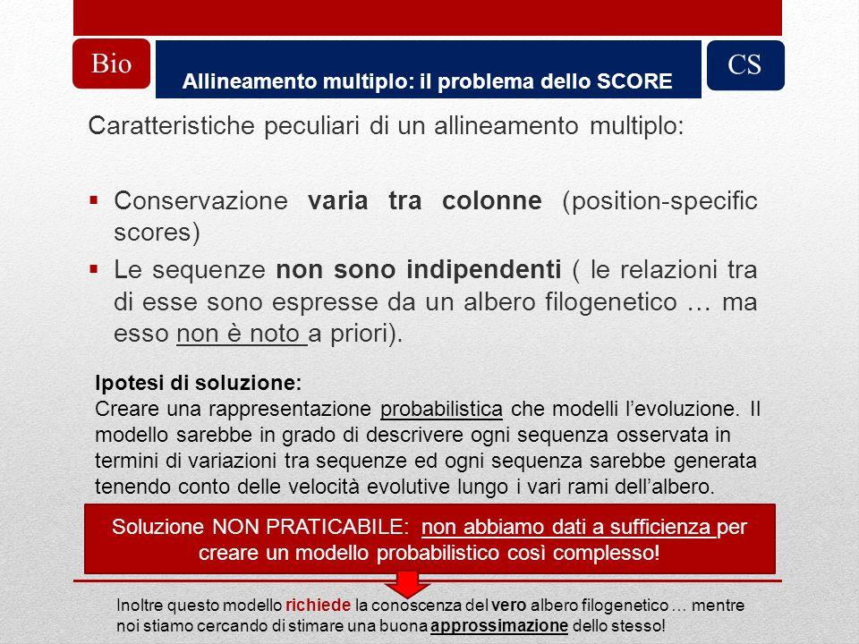 Allineamento multiplo: il problema dello SCORE CS Caratteristiche peculiari di un allineamento multiplo: Conservazione varia tra colonne (position-spe