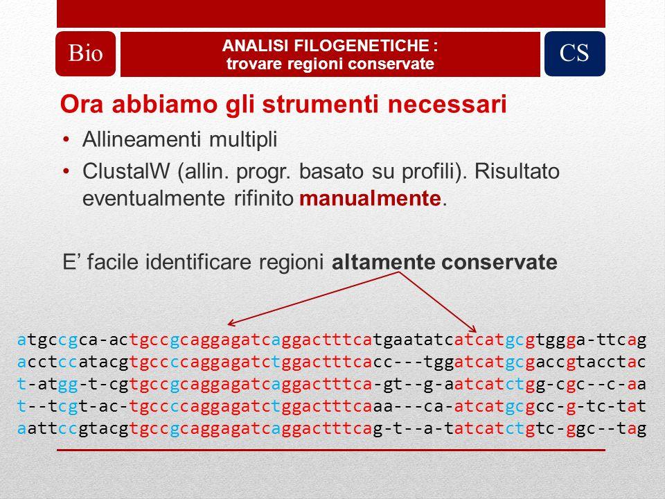 Ora abbiamo gli strumenti necessari Allineamenti multipli ClustalW (allin. progr. basato su profili). Risultato eventualmente rifinito manualmente. E