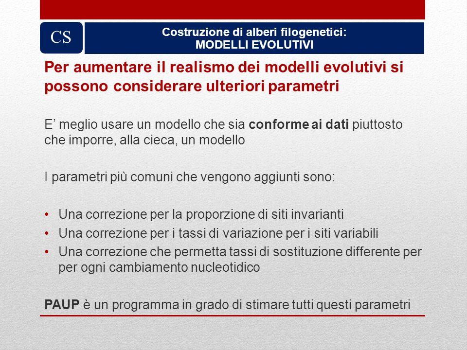 Costruzione di alberi filogenetici: MODELLI EVOLUTIVI CS Per aumentare il realismo dei modelli evolutivi si possono considerare ulteriori parametri E