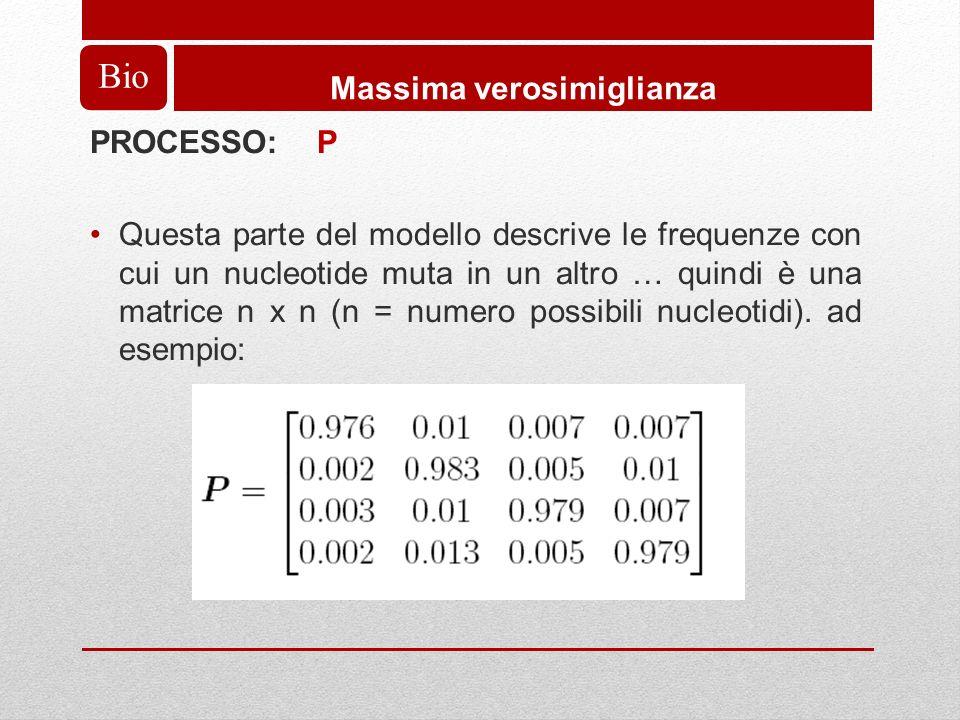 Bio Massima verosimiglianza PROCESSO: P Questa parte del modello descrive le frequenze con cui un nucleotide muta in un altro … quindi è una matrice n x n (n = numero possibili nucleotidi).