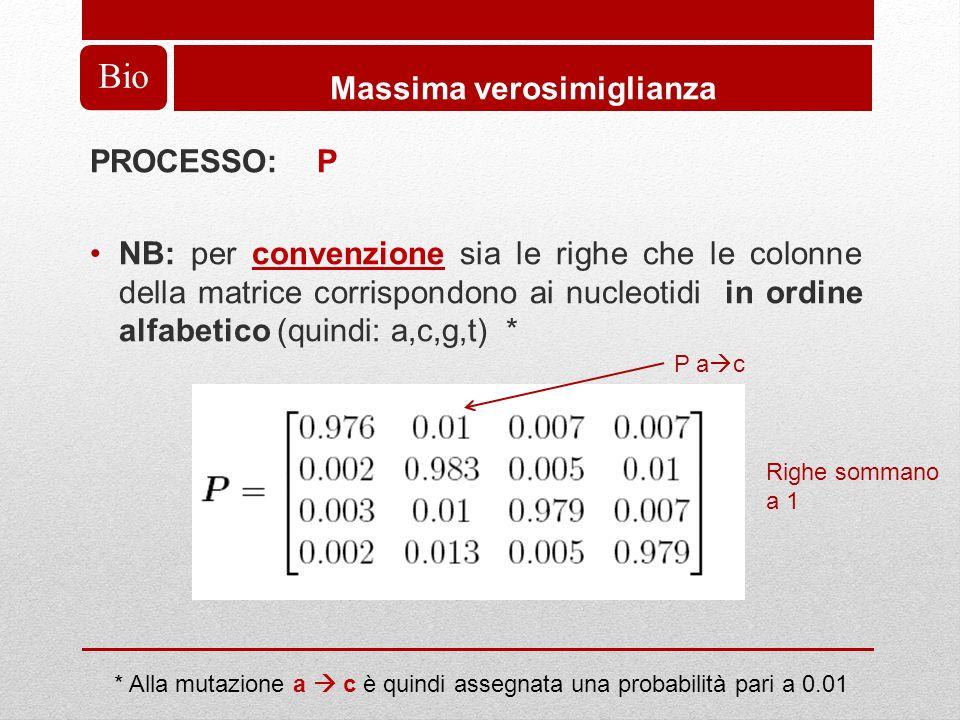 Bio Massima verosimiglianza PROCESSO: P NB: per convenzione sia le righe che le colonne della matrice corrispondono ai nucleotidi in ordine alfabetico (quindi: a,c,g,t) * * Alla mutazione a c è quindi assegnata una probabilità pari a 0.01 P a c Righe sommano a 1