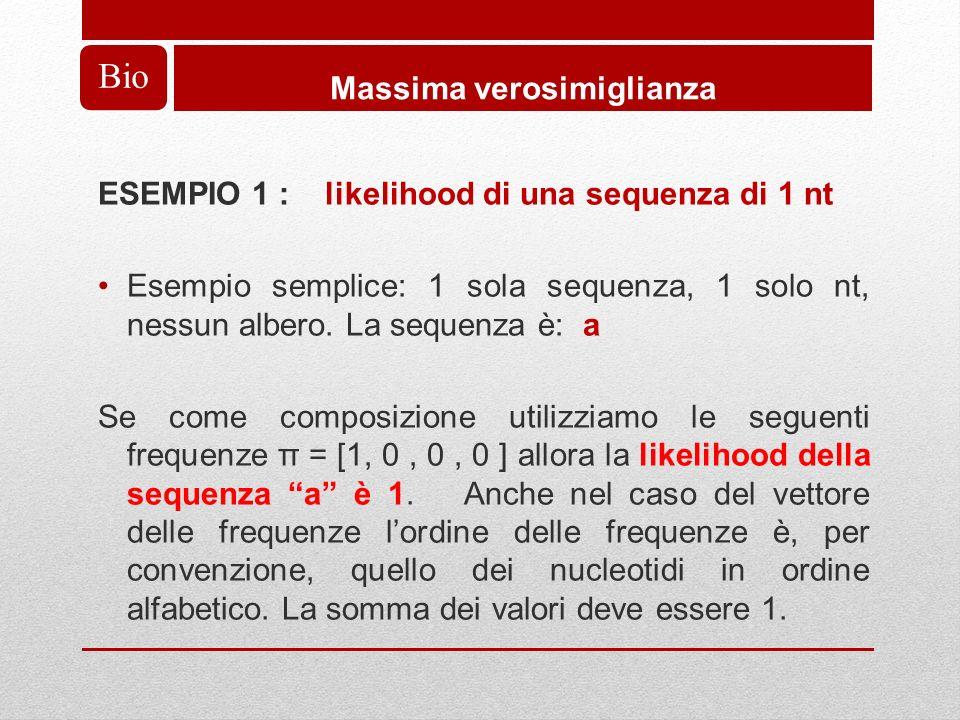 Bio Massima verosimiglianza ESEMPIO 1 : likelihood di una sequenza di 1 nt Esempio semplice: 1 sola sequenza, 1 solo nt, nessun albero.