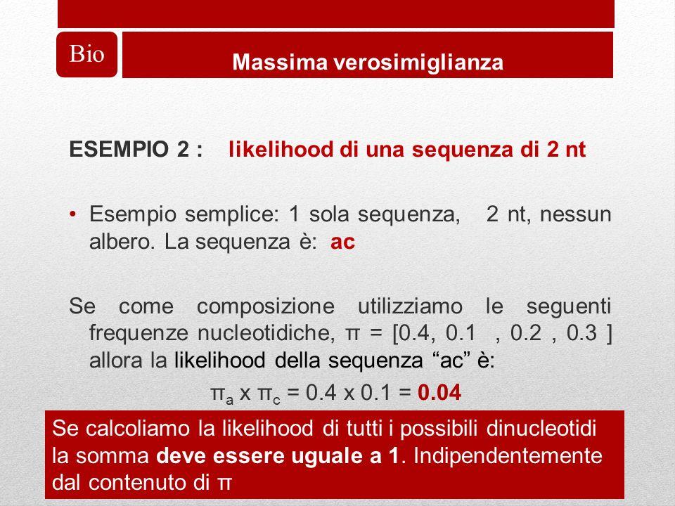 Bio Massima verosimiglianza ESEMPIO 2 : likelihood di una sequenza di 2 nt Esempio semplice: 1 sola sequenza, 2 nt, nessun albero.