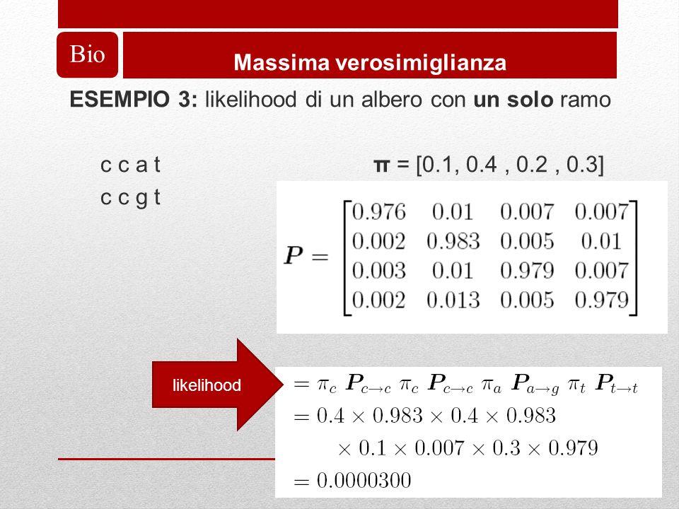 Bio Massima verosimiglianza ESEMPIO 3: likelihood di un albero con un solo ramo c c a t π = [0.1, 0.4, 0.2, 0.3] c c g t likelihood