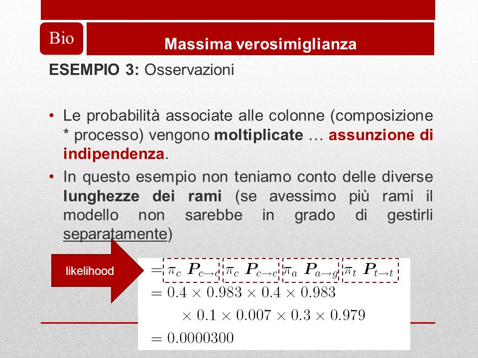 Bio Massima verosimiglianza ESEMPIO 3: Osservazioni Le probabilità associate alle colonne (composizione * processo) vengono moltiplicate … assunzione di indipendenza.
