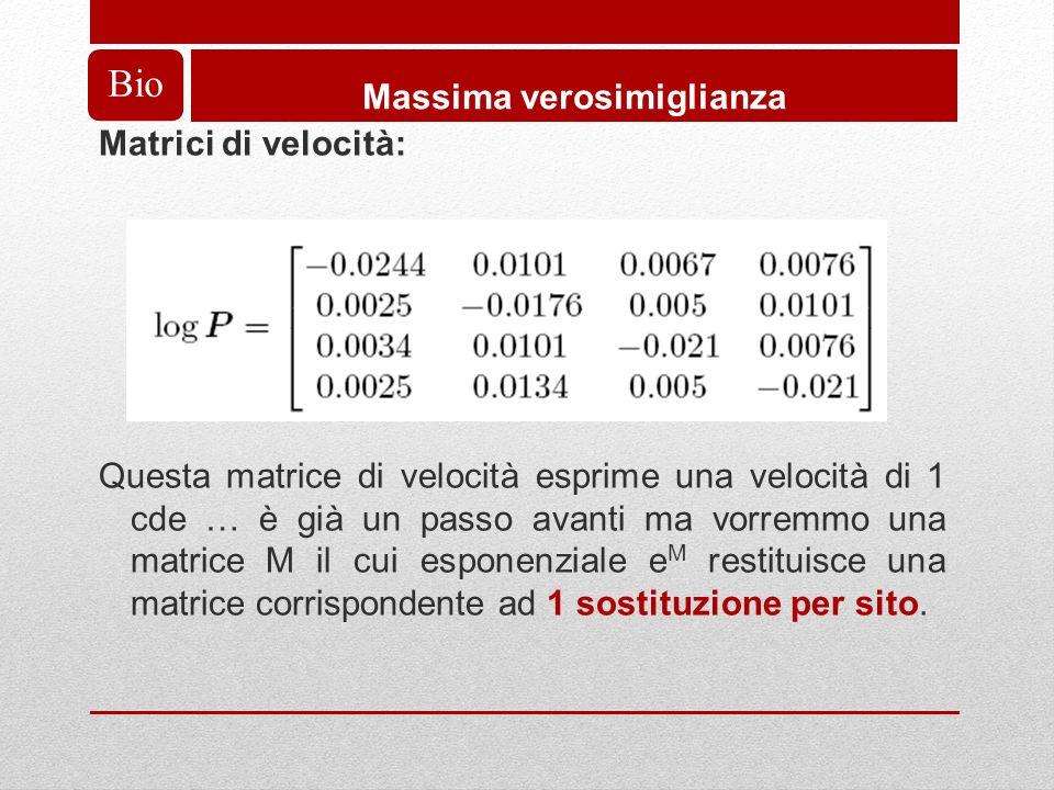 Bio Massima verosimiglianza Matrici di velocità: Questa matrice di velocità esprime una velocità di 1 cde … è già un passo avanti ma vorremmo una matrice M il cui esponenziale e M restituisce una matrice corrispondente ad 1 sostituzione per sito.