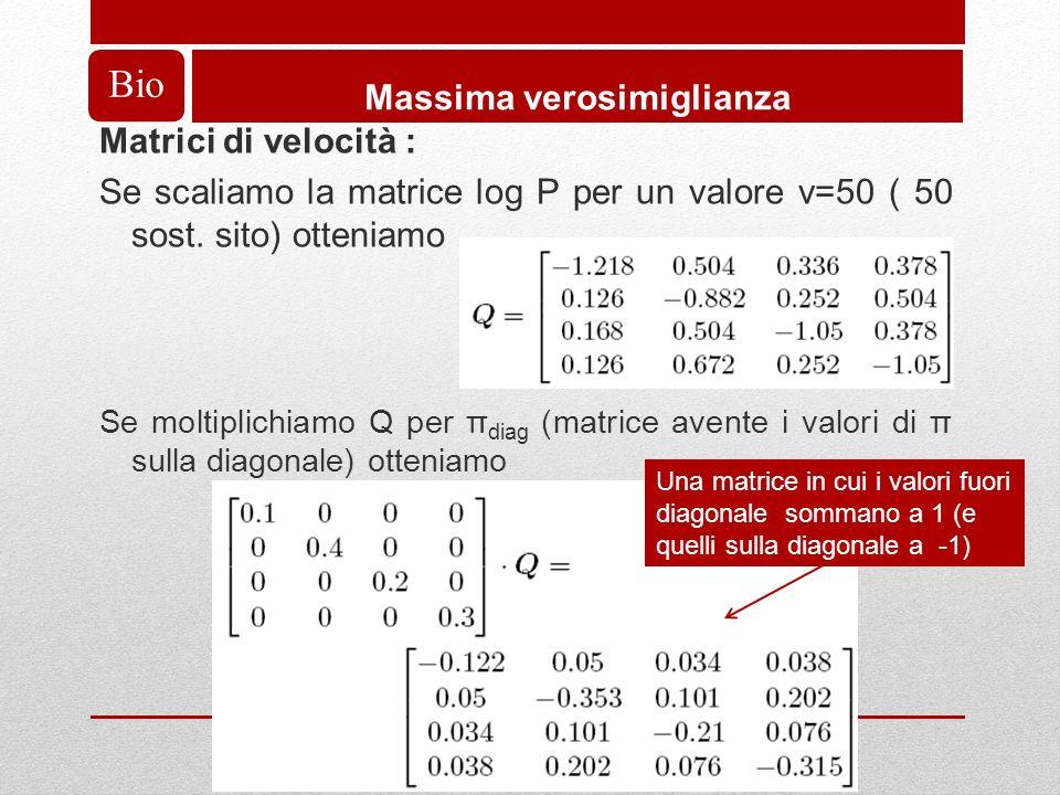 Bio Massima verosimiglianza Matrici di velocità : Se scaliamo la matrice log P per un valore v=50 ( 50 sost.