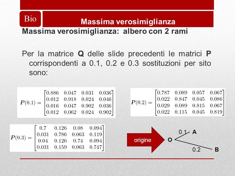 Bio Massima verosimiglianza Massima verosimiglianza: albero con 2 rami Per la matrice Q delle slide precedenti le matrici P corrispondenti a 0.1, 0.2 e 0.3 sostituzioni per sito sono: A O B 0.1 0.2 origine