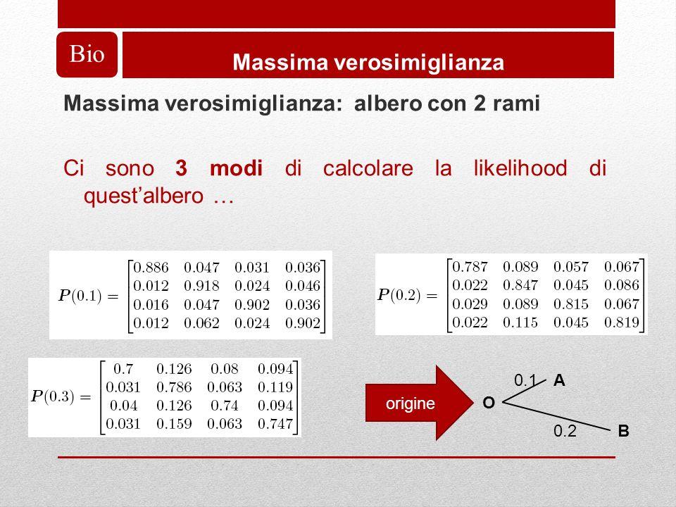 Bio Massima verosimiglianza Massima verosimiglianza: albero con 2 rami Ci sono 3 modi di calcolare la likelihood di questalbero … A O B 0.1 0.2 origine