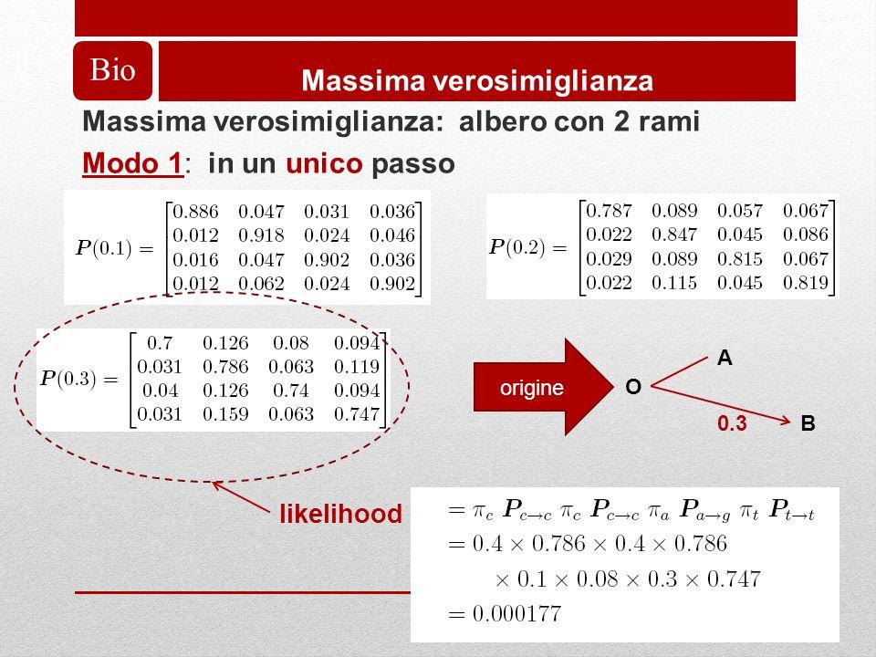 Bio Massima verosimiglianza Massima verosimiglianza: albero con 2 rami Modo 1: in un unico passo A O B0.3 origine likelihood