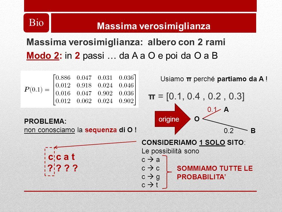 Bio Massima verosimiglianza Massima verosimiglianza: albero con 2 rami Modo 2: in 2 passi … da A a O e poi da O a B π = [0.1, 0.4, 0.2, 0.3] A O B 0.1 0.2 origine Usiamo π perché partiamo da A .