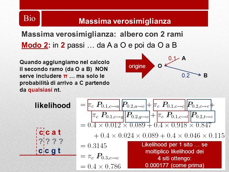 Bio Massima verosimiglianza Massima verosimiglianza: albero con 2 rami Modo 2: in 2 passi … da A a O e poi da O a B A O B 0.1 0.2 origine Quando aggiungiamo nel calcolo il secondo ramo (da O a B) NON serve includere π … ma solo le probabilità di arrivo a C partendo da qualsiasi nt.