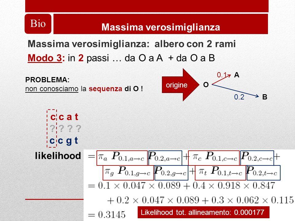 Bio Massima verosimiglianza Massima verosimiglianza: albero con 2 rami Modo 3: in 2 passi … da O a A + da O a B A O B 0.1 0.2 origine PROBLEMA: non conosciamo la sequenza di O .