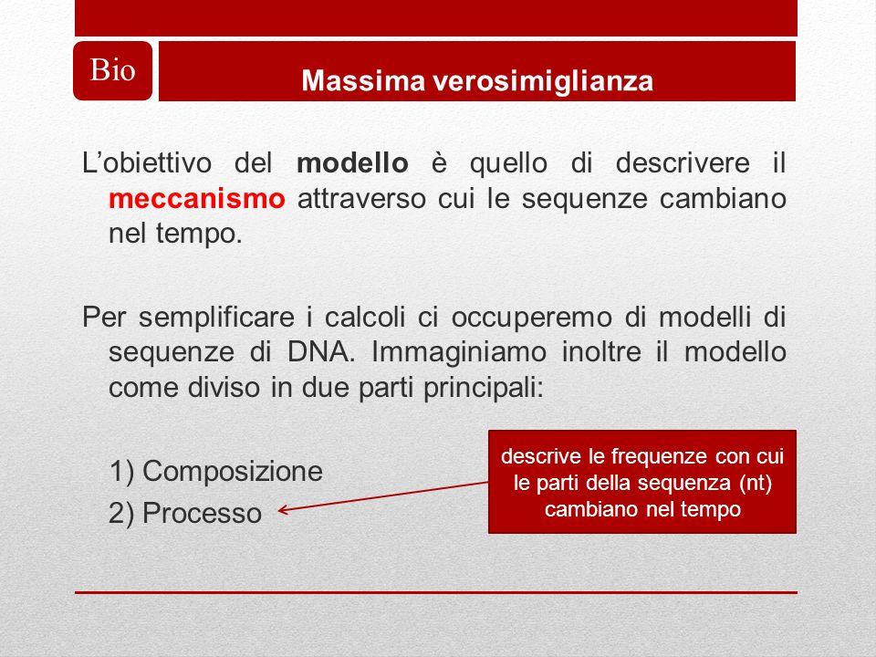 Bio Massima verosimiglianza Lobiettivo del modello è quello di descrivere il meccanismo attraverso cui le sequenze cambiano nel tempo.