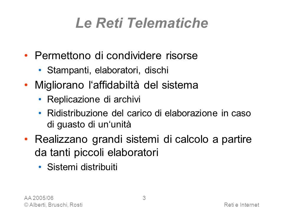 AA 2005/06 © Alberti, Bruschi, RostiReti e Internet 4 Le Reti Telematiche Permettono di accedere a informazioni remote Database, file system Permettono di comunicare tra persone email, chat, irc, news, bbs, video- conferenza Forniscono intrattenimento video on demand, musica on line