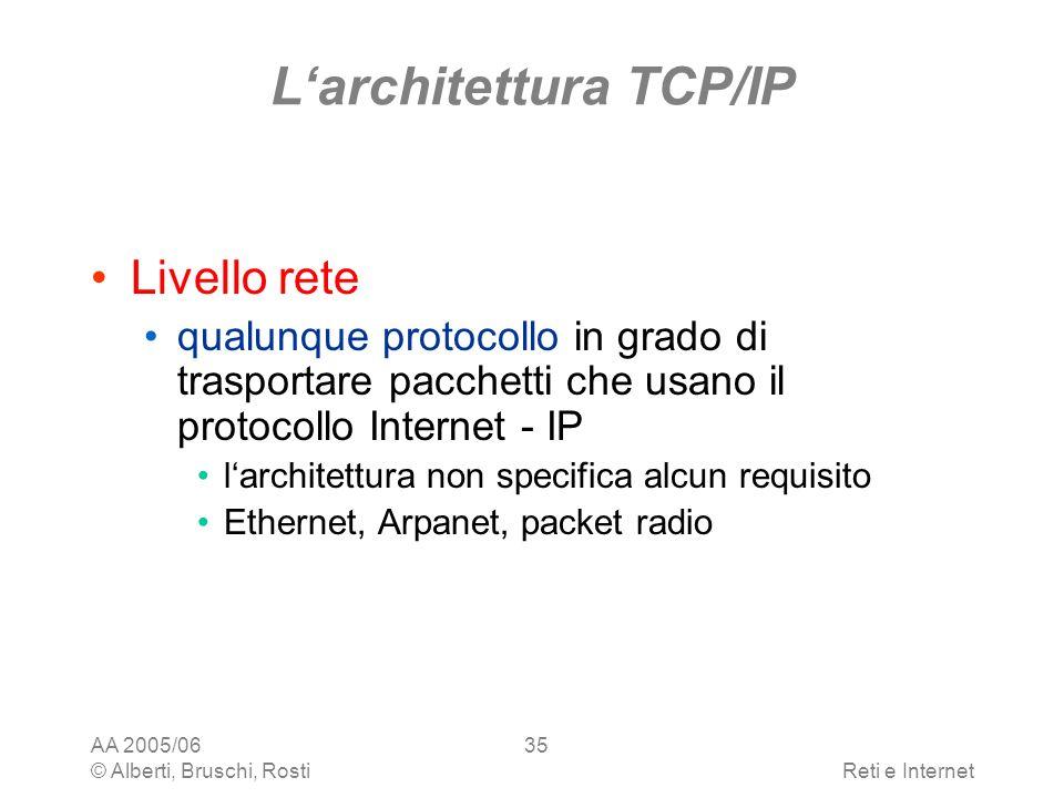 AA 2005/06 © Alberti, Bruschi, RostiReti e Internet 35 Larchitettura TCP/IP Livello rete qualunque protocollo in grado di trasportare pacchetti che us