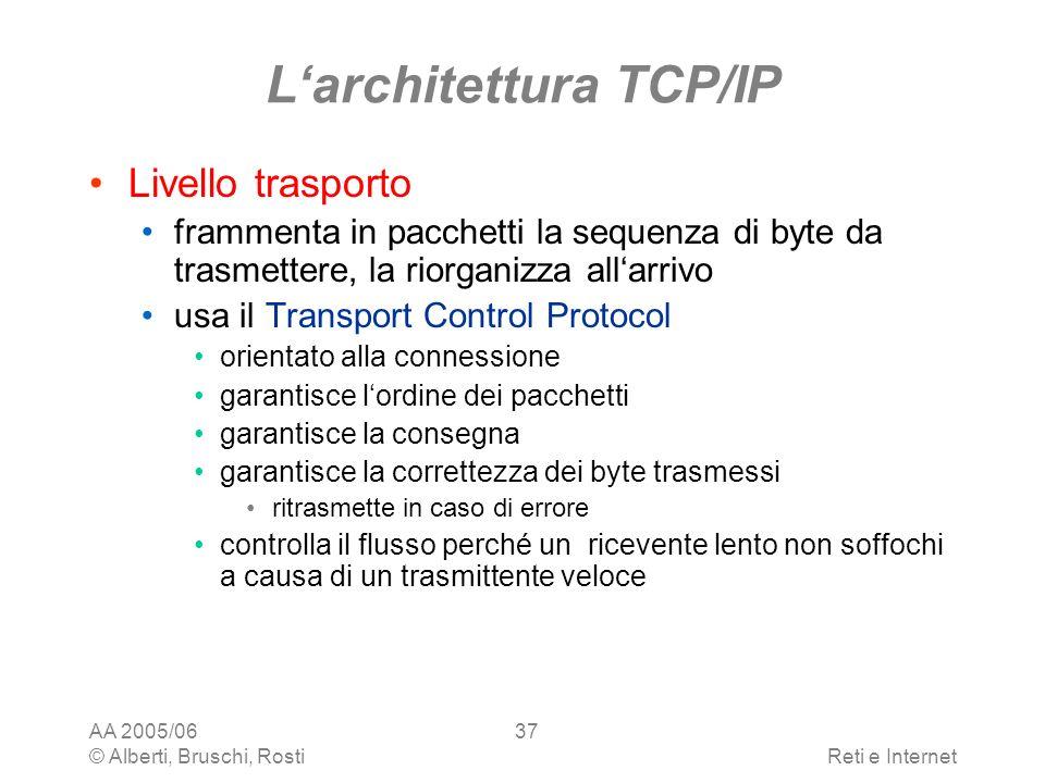 AA 2005/06 © Alberti, Bruschi, RostiReti e Internet 37 Larchitettura TCP/IP Livello trasporto frammenta in pacchetti la sequenza di byte da trasmetter
