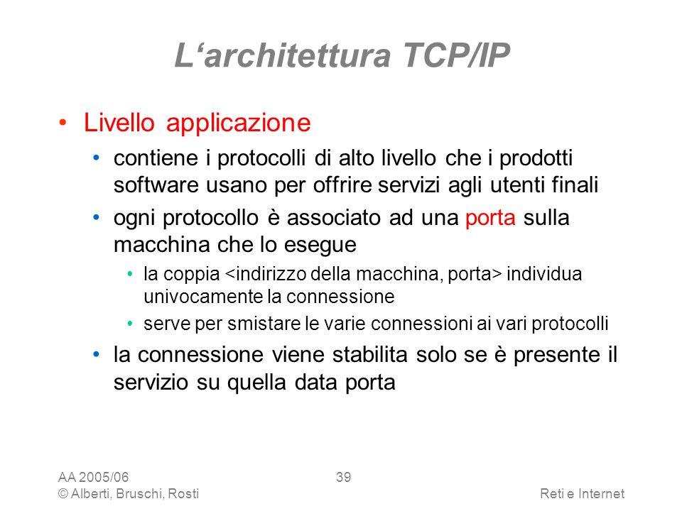 AA 2005/06 © Alberti, Bruschi, RostiReti e Internet 39 Larchitettura TCP/IP Livello applicazione contiene i protocolli di alto livello che i prodotti