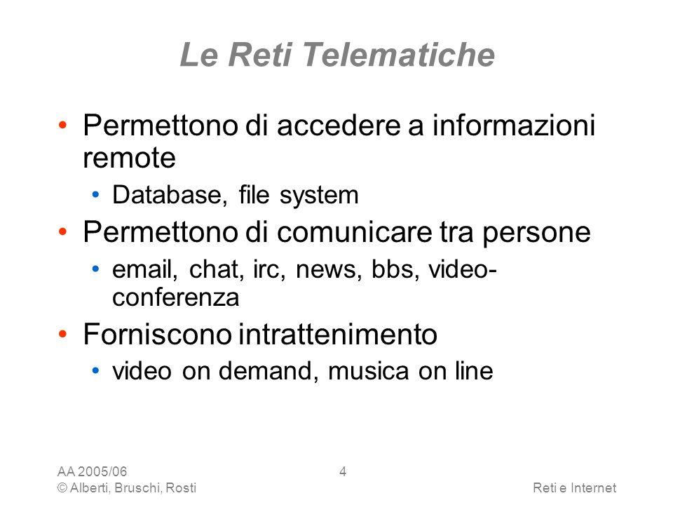 AA 2005/06 © Alberti, Bruschi, RostiReti e Internet 35 Larchitettura TCP/IP Livello rete qualunque protocollo in grado di trasportare pacchetti che usano il protocollo Internet - IP larchitettura non specifica alcun requisito Ethernet, Arpanet, packet radio