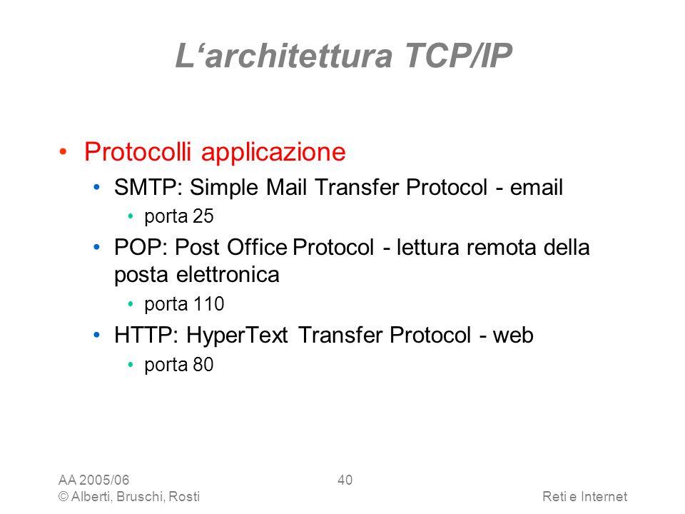 AA 2005/06 © Alberti, Bruschi, RostiReti e Internet 40 Larchitettura TCP/IP Protocolli applicazione SMTP: Simple Mail Transfer Protocol - email porta