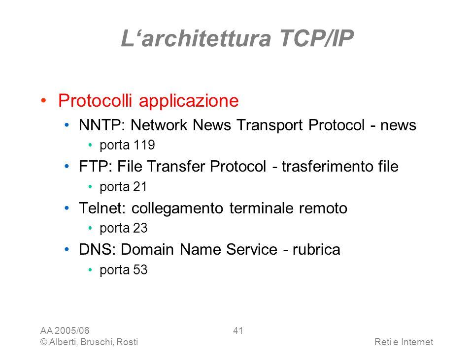 AA 2005/06 © Alberti, Bruschi, RostiReti e Internet 41 Larchitettura TCP/IP Protocolli applicazione NNTP: Network News Transport Protocol - news porta