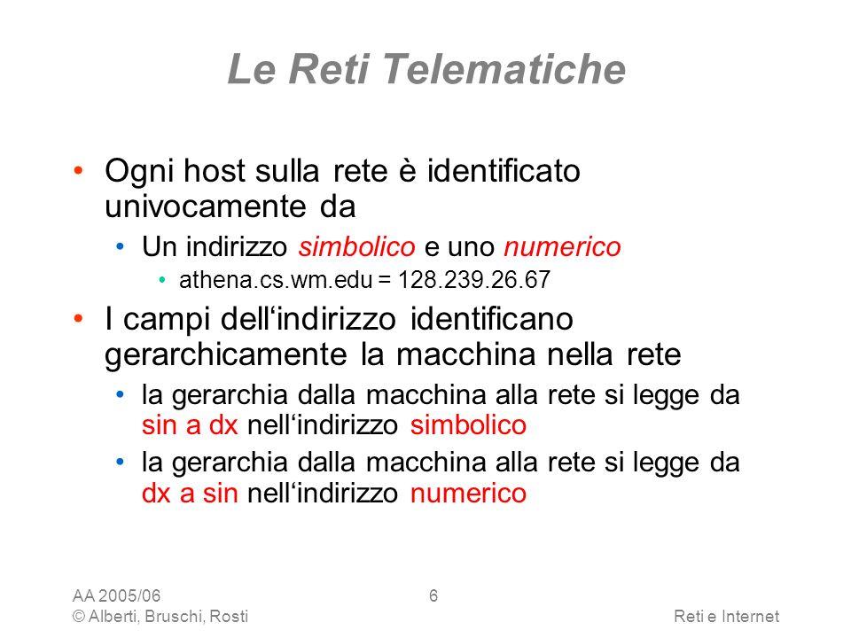AA 2005/06 © Alberti, Bruschi, RostiReti e Internet 7 Le Reti Telematiche Ad esempio athena.cs.wm.edu = 128.239.26.67 edu (128): la rete della ricerca & istruzione USA wm (239): listituzione cs (26): il dipartimento athena (67): la macchina