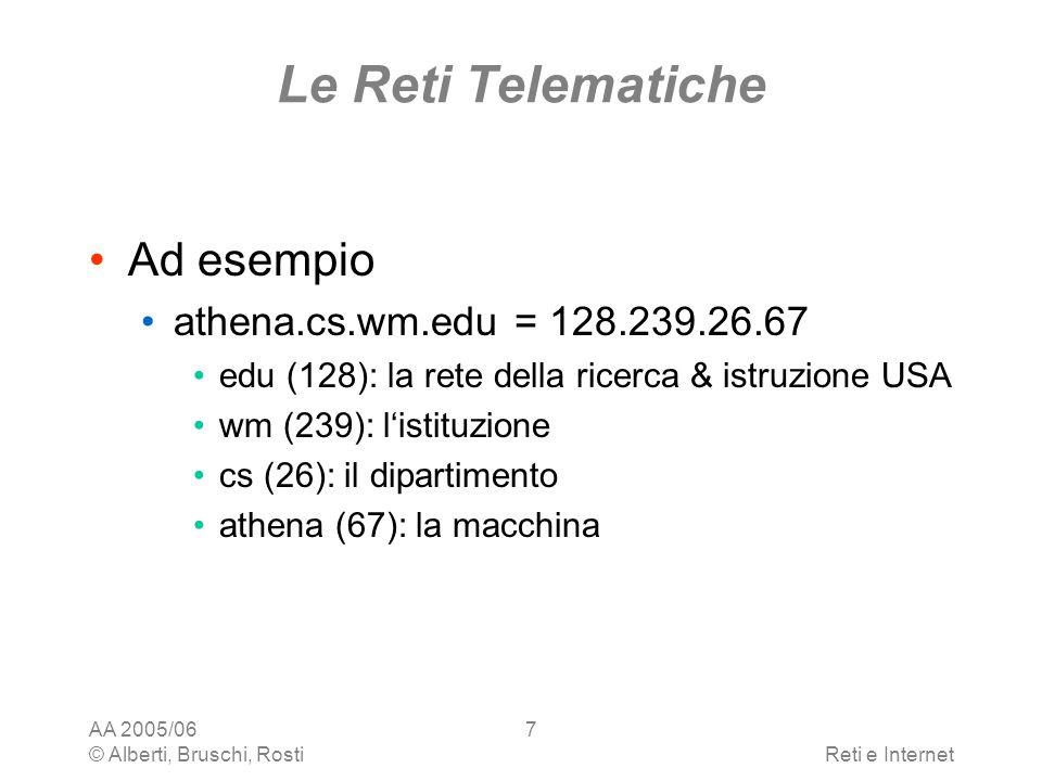 AA 2005/06 © Alberti, Bruschi, RostiReti e Internet 38 Larchitettura TCP/IP Livello trasporto oppure usa lo User Datagram Protocol privo di connessione non garantisce lordine dei pacchetti inaffidabile veloce non controlla la correttezza adatto per servizi in cui il tempo di risposta è più importante della correttezza video, audio