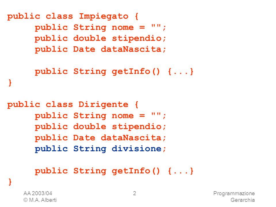 AA 2003/04 © M.A. Alberti Programmazione Gerarchia 2 public class Impiegato { public String nome =