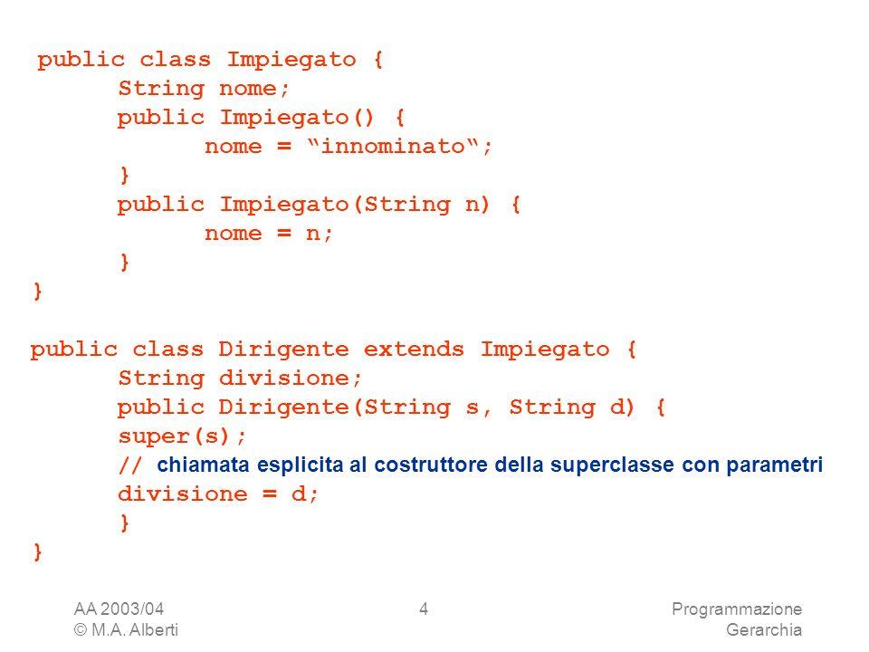 AA 2003/04 © M.A. Alberti Programmazione Gerarchia 4 public class Impiegato { String nome; public Impiegato() { nome = innominato; } public Impiegato(